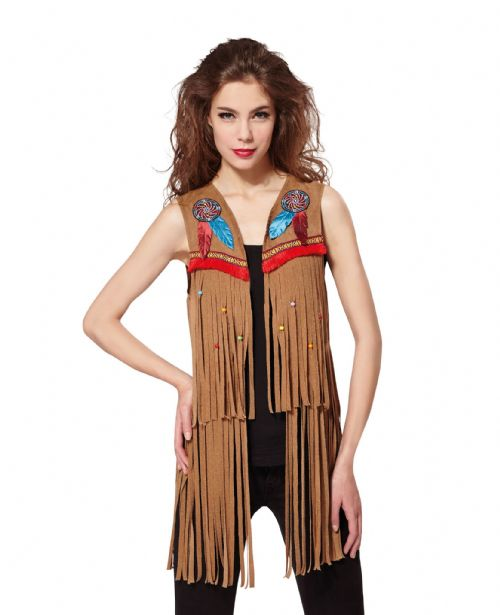 Ladies Indian Hippy Waistcoat Native Wild West American Cowboys Fancy Dress